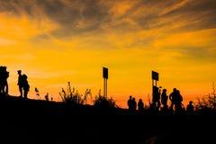 Coucher du soleil dans le bâti Photo stock