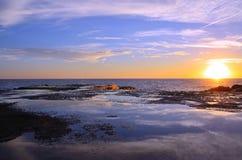 Coucher du soleil dans le camogli Photo libre de droits