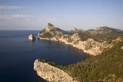 Coucher du soleil dans le capuchon Formentor, Majorca image stock