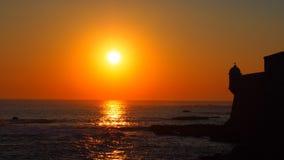 Coucher du soleil dans le château Photos libres de droits