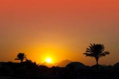 Coucher du soleil dans le désert Image libre de droits