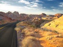 Coucher du soleil dans le désert Photographie stock