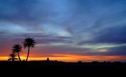 Coucher du soleil dans le désert de Sahara Photographie stock