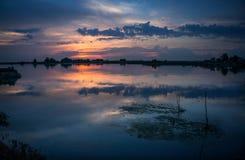 Coucher du soleil dans le delta de Danube Photos libres de droits