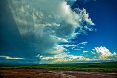 Coucher du soleil dans le domaine avec la barri?re, le p?turage vert et les b?tail sous le ciel bleu avec des nuages et des rayon photographie stock libre de droits