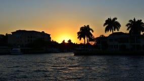 Coucher du soleil dans le Fort Lauderdale Photos libres de droits