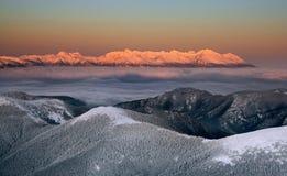 Coucher du soleil dans le haut Tatras Photos libres de droits