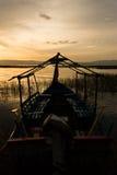 Coucher du soleil dans le lac Awassa, Ethiopie. Photos stock