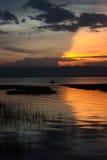 Coucher du soleil dans le lac Awassa, Ethiopie. Photographie stock