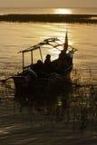Coucher du soleil dans le lac Awassa, Ethiopie. Images stock