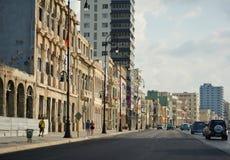 Coucher du soleil dans le malecon, la Havane Image stock