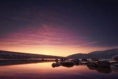 Coucher du soleil dans le marais Photographie stock