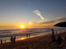 Coucher du soleil dans le Pacifique Images stock