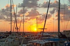 Coucher du soleil dans le port de Yaffo Photo libre de droits