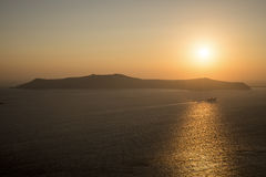 Coucher du soleil dans le santorini Photo libre de droits