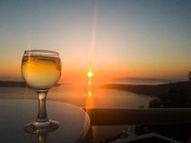 Coucher du soleil dans le santorini Photos stock