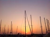 Coucher du soleil dans le vieux port de Jaffa, Israël Images libres de droits