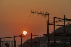 Coucher du soleil dans le village Hong Kong de ³ de ¾ de 大æ de Tai O images libres de droits