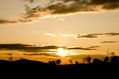 Coucher du soleil dans le villige Photo stock