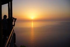 Coucher du soleil dans les îles ioniennes Images stock