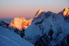Coucher du soleil dans les Alpes Photos stock