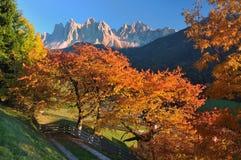 Coucher du soleil dans les Alpes de dolomite Images libres de droits