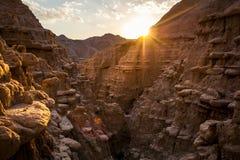 Coucher du soleil dans les bad-lands du Nébraska Photos stock