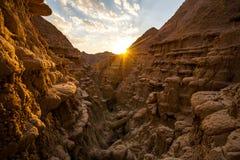 Coucher du soleil dans les bad-lands du Nébraska Photo libre de droits
