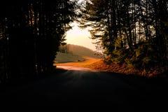 Coucher du soleil dans les collines styrian photos libres de droits
