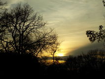 Coucher du soleil dans les Frances Photo stock
