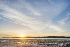 Coucher du soleil dans les marais Photographie stock