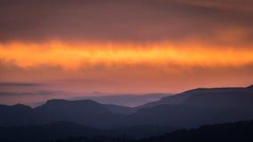 Coucher du soleil dans les montagnes de Calderona photos libres de droits