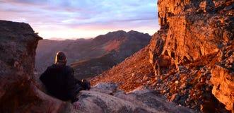 Coucher du soleil dans les montagnes de Cedarberg Photographie stock libre de droits