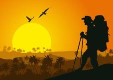 Coucher du soleil dans les montagnes tropicales avec la silhouette du touriste Illustration Stock