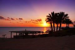 Coucher du soleil dans Marsa Alam, Egypte Images stock