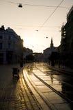 Coucher du soleil dans Miskolc photographie stock libre de droits