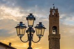 Coucher du soleil dans Montalcino Image libre de droits