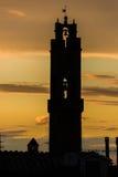 Coucher du soleil dans Montalcino Photo stock