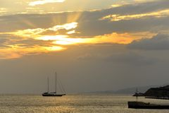 Coucher du soleil dans Mykonos Image stock