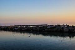 Coucher du soleil dans Napoli Italie Photos stock