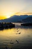 Coucher du soleil dans Napoli Italie Photo stock