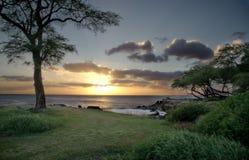 Coucher du soleil dans Oahu Image libre de droits