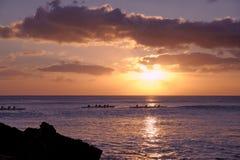 Coucher du soleil dans Oahu Photographie stock libre de droits