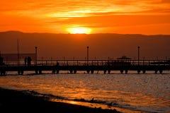 Coucher du soleil dans Paracas, Pérou Photos stock