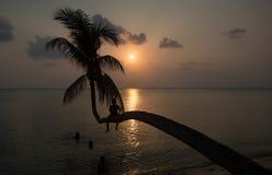 Coucher du soleil dans Phangan Images libres de droits