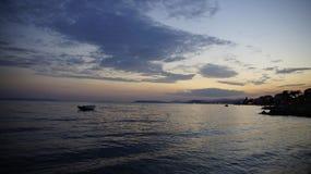 Coucher du soleil dans Podstrana Photo stock