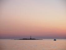Coucher du soleil dans Porec, Croatie photos libres de droits
