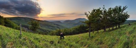 Coucher du soleil dans Skalnata maximal en montagne de la Slovaquie - petit carpathien photos stock