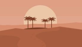 Coucher du soleil dans un paysage de désert Image libre de droits
