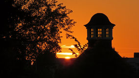 Coucher du soleil dans Volkspark à Enschede Image stock